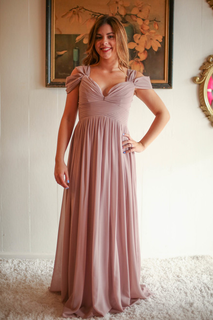 Elegant Woman Taupe Double Off Shoulder Maxi Dress with Pleated Bodice front view.