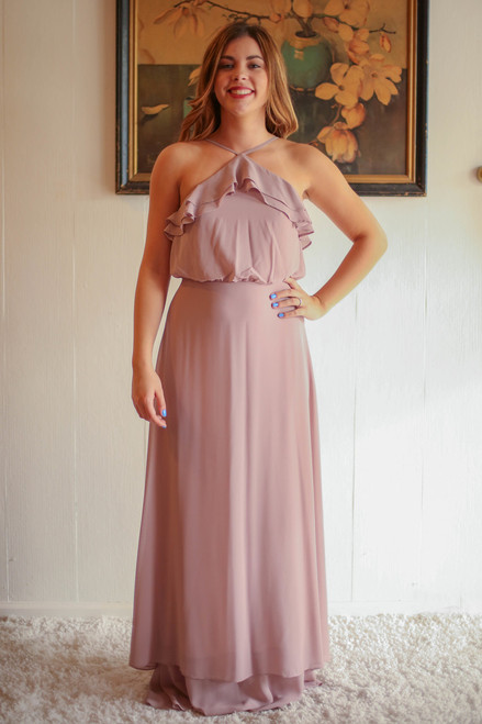 Beyond Taupe Beige High Neck Column Dress with Ruffle Bodice front view.