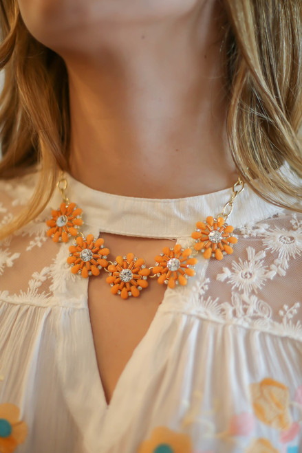 Orange Crystal Flower Statement Necklace