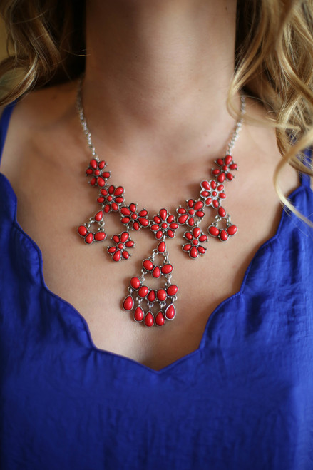 Red Floral Dropped Statement Necklace
