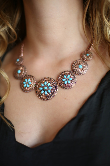 Turquoise and Burnished Copper Floral Etched Bib Necklace