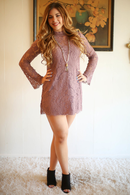 Mad for Mauve Lace Long Sleeve Shift Dress full body front view.