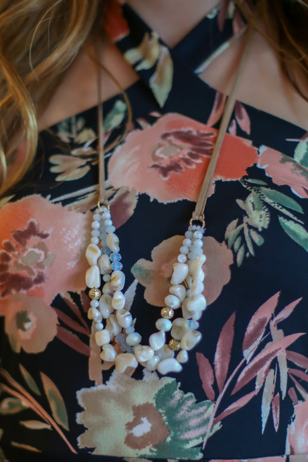 Natural Stone Double Stranded Necklace