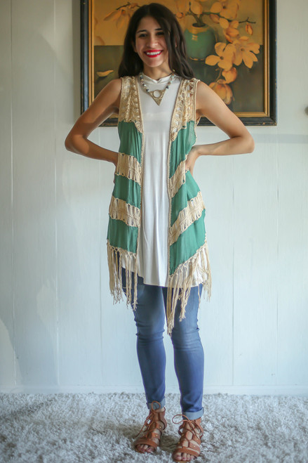 Must Have Moss Green Sleeveless Duster with Fringe full body front view.