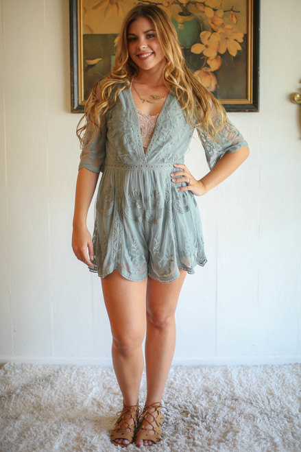 Spell Breaker Dusty Sage Short Sleeve Plunge Romper full body front view.