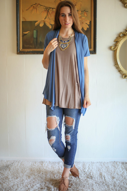 Simply Basics Blue Indigo Short Sleeve Open Front Cardigan full body front view.