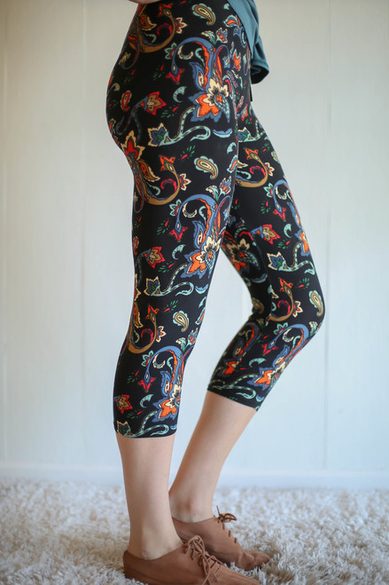 Vibrant Paisley Printed Butter Soft Cropped Leggings side view.