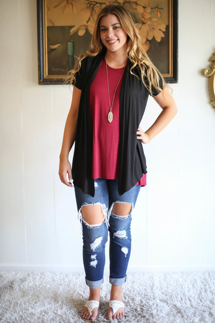 Simply Basics Black Short Sleeve Open Front Cardigan full body front view.