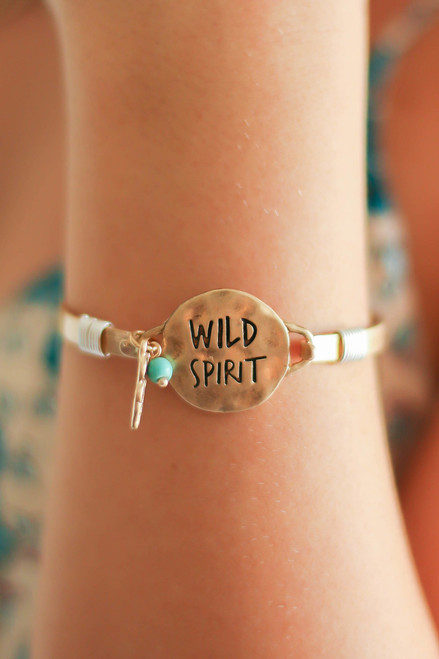 Wild Spirit Gold Hammered Metal Charm Bracelet