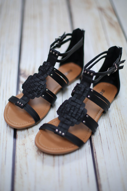 Achillia Black Weaved Gladiator Sandals