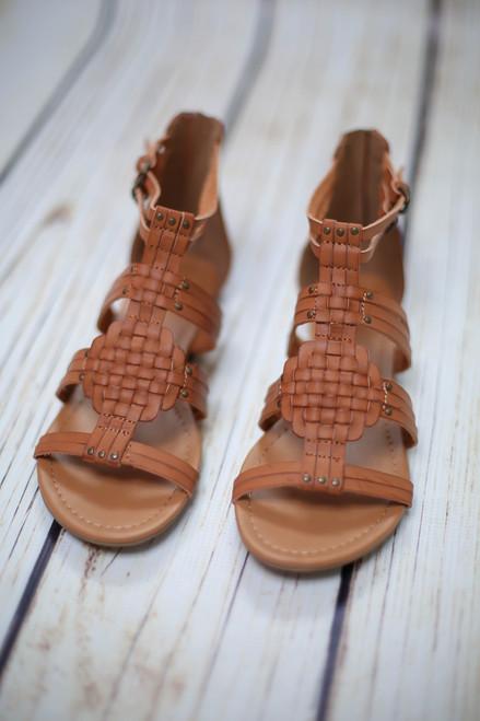Achillia Tan Weaved Gladiator Sandals