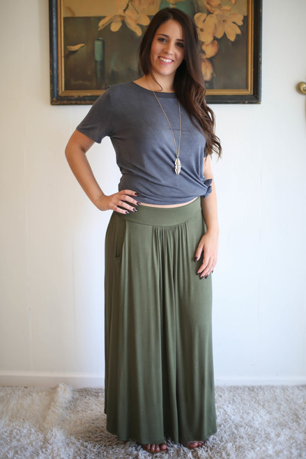 Elemental Essentials Army Green Ankle Skirt with Pockets front view.