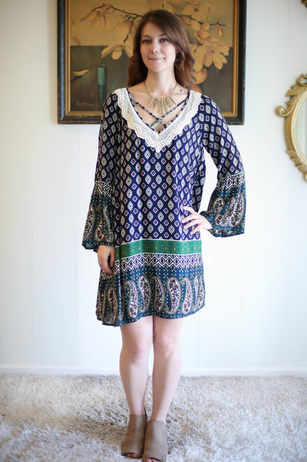 Printed Collective Navy Printed Long Sleeve Dress full body front view.
