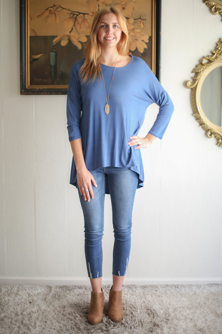 Simply Basics Blue Indigo Slouchy 3/4 Sleeve Top full body front view.