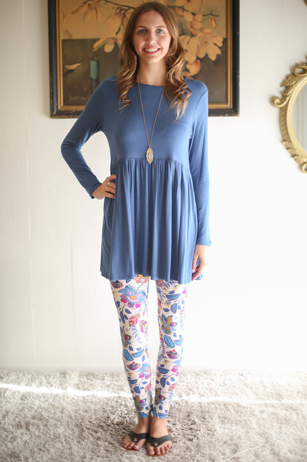 Simply Basics Blue Indigo Long Sleeve Ruffle Tunic full body front view.