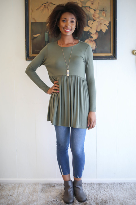 Simply Basics Light Olive Long Sleeve Ruffle Tunic full body front view.