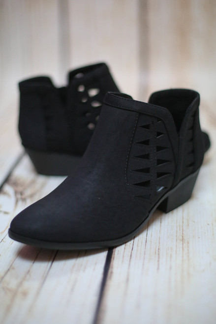 Annabelle Black Laser Cut Ankle Booties