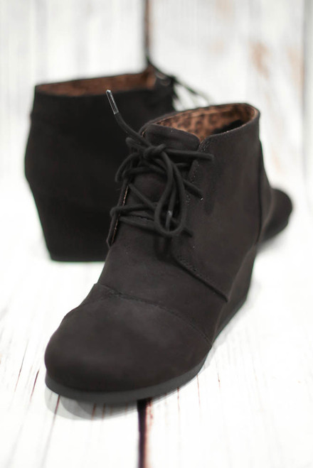 Gina Black Lace Up Wedge Ankle Bootie