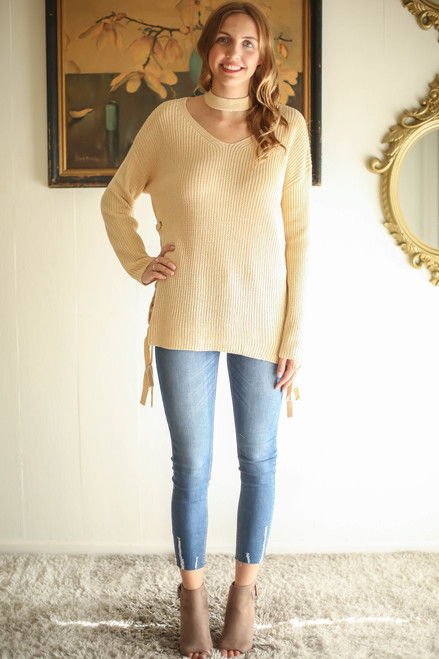 Sweet Cream Sweetie Lace Up Choker Sweater full body front view.