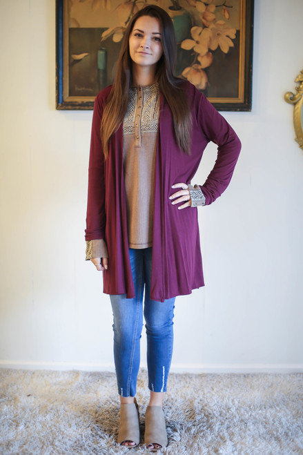Simply Basics Wine Rose Everyday Long Sleeve Cardigan full body front view.