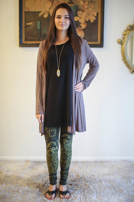 Simply Basics Chocolate Everyday Long Sleeve Cardigan full body front view.