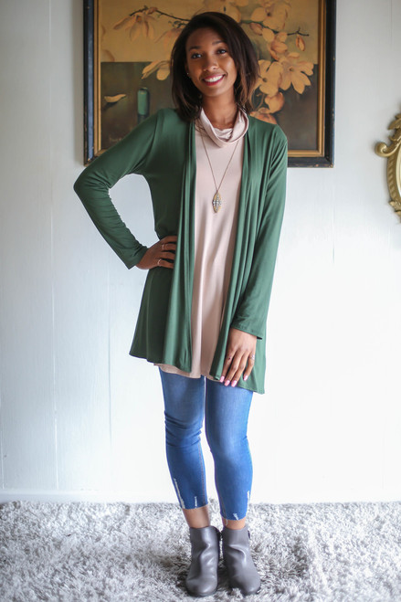 Simply Basics Army Green Everyday Long Sleeve Cardigan full body front view.
