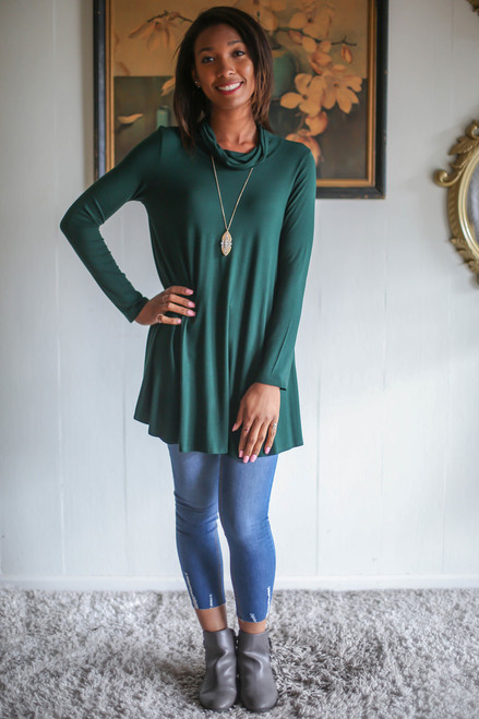 Simply Basics Dark Green Long Sleeve Cowl Neck Tunic full body front view.
