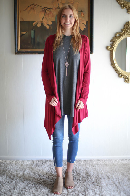 Simply Basics Wine Handkerchief Cardigan with Hood full body front view.