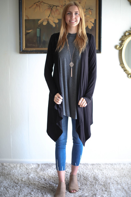 Simply Basics Black Handkerchief Cardigan with Hood full body front view.