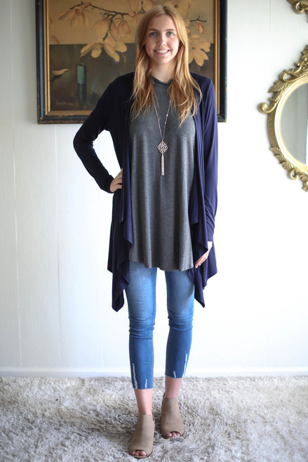 Simply Basics Navy Handkerchief Cardigan with Hood full body front view.