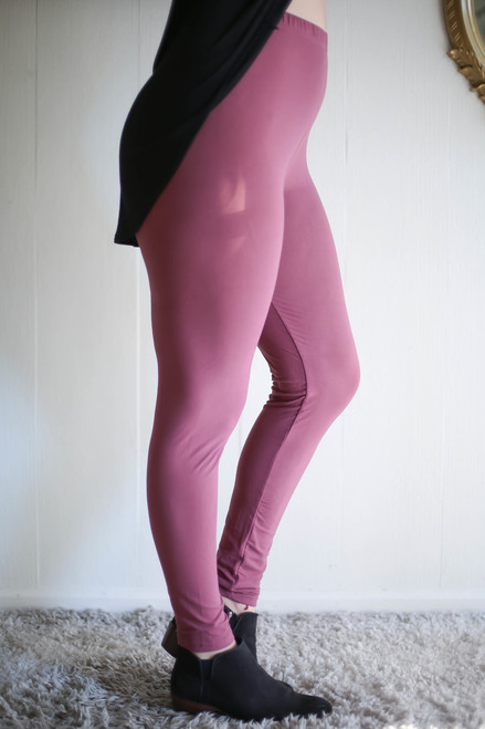 Curvy Simple Perfection Marsala Butter Soft Leggings side view.