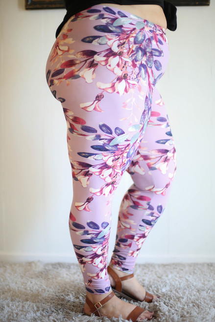 Blossoming Pastel Floral Printed Butter Soft Leggings in Plus side view.