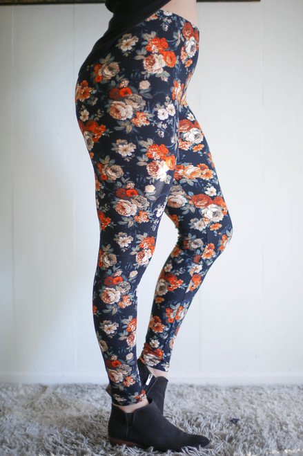 Curvy Harvest Floral Butter Soft Leggings side view.