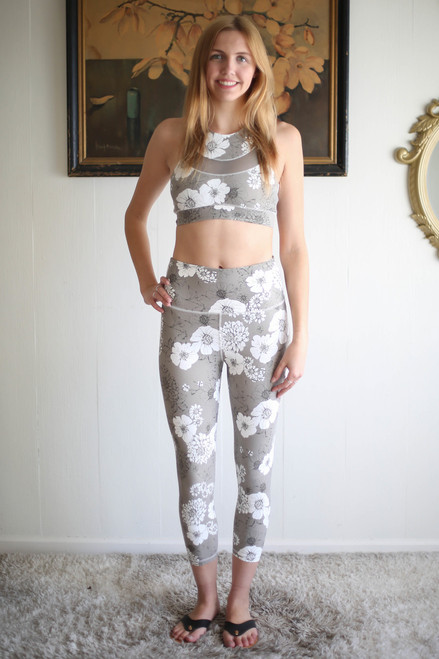 Activated Athletics Gray Floral Print Racerback Sports Bra full body front view.