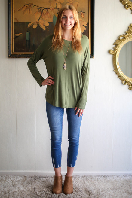 Simply Basics Army Green Comfy Long Sleeve Tunic full body front view.
