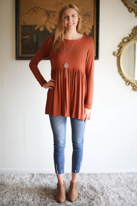 Simply Basics Hazelnut Long Sleeve Ruffle Tunic full body front view.