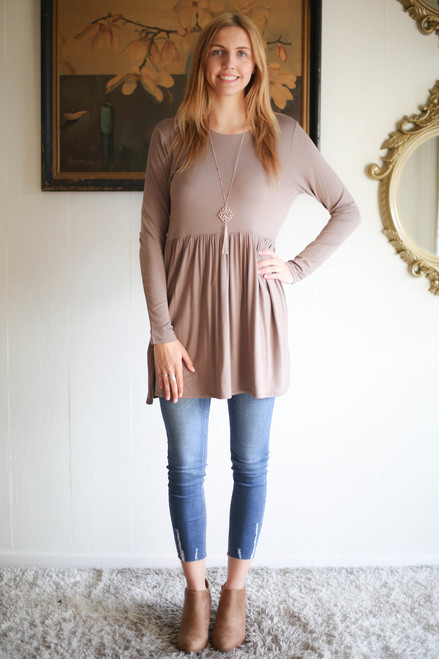 Simply Basics Mocha Long Sleeve Ruffle Tunic full body front view.