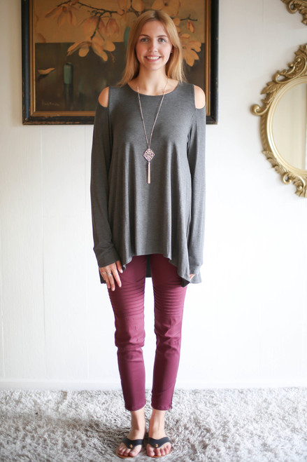 Simply Basics Charcoal Cold Shoulder Cutout Tunic full body front view.