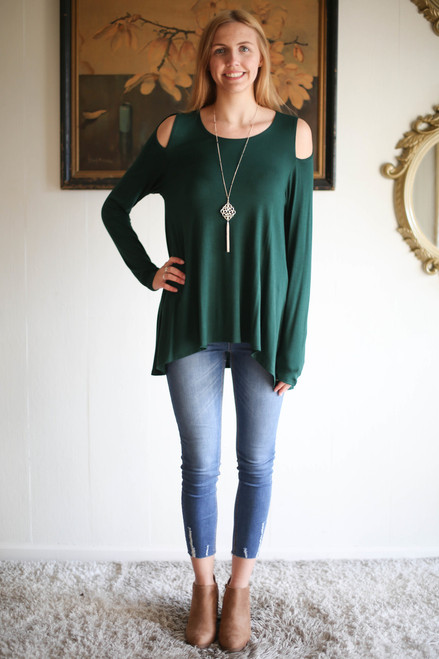 Simply Basics Dark Green Cold Shoulder Cutout Tunic full body front view.