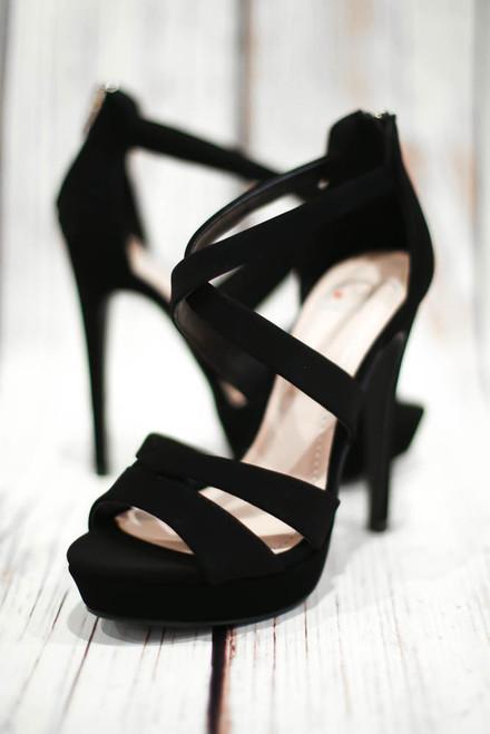 Evelyn Black Strappy Stiletto Heels