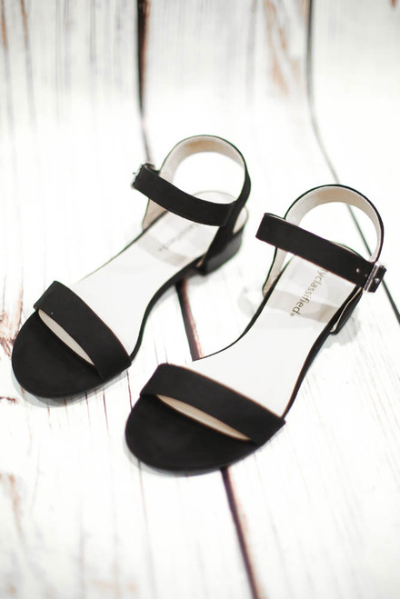 Naomi Black Ankle Strap Open Toe Sandal