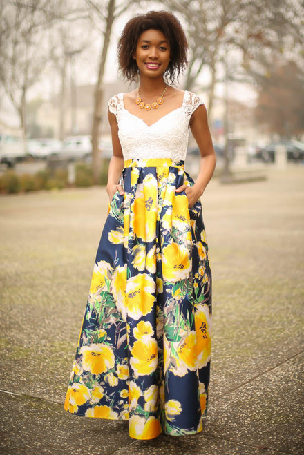All for Love Ivory and Yellow Floral Gown with Pockets front view.