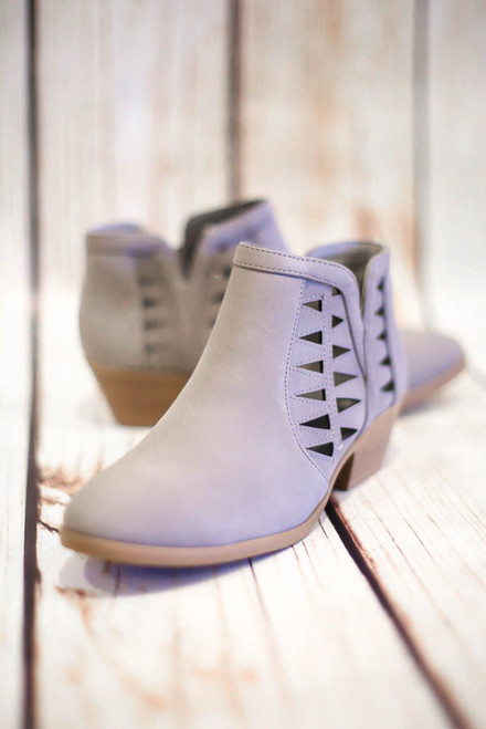 Annabelle Light Gray Laser Cut Ankle Booties