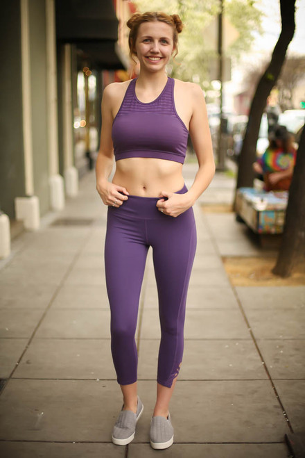 Activated Athletics Dark Violet Burnout Mesh Sports Bra full body front view.