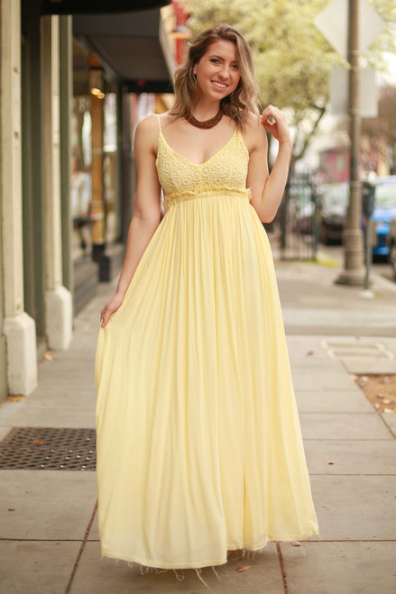Magical Moments Yellow Crochet Lace Maxi Dress front view.