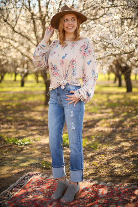 Spring Solstice Natural Floral Printed Top full body front view.