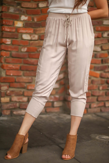 Delightfully Delicate Natural Capri Pants front view.