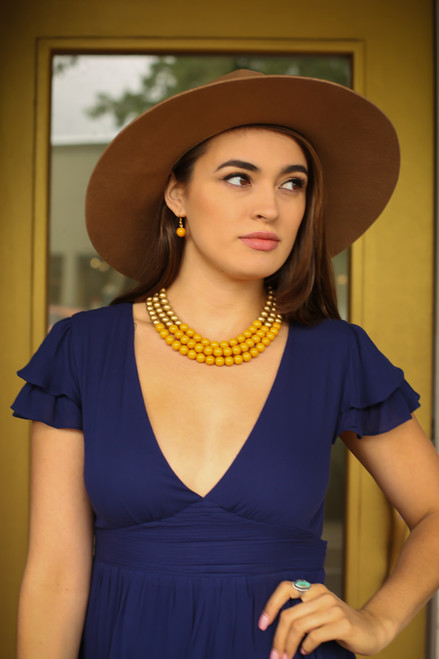 Yellow and Gold Bead Layered Statement Necklace