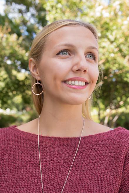 Copper Hammered Metal Hoop Earrings
