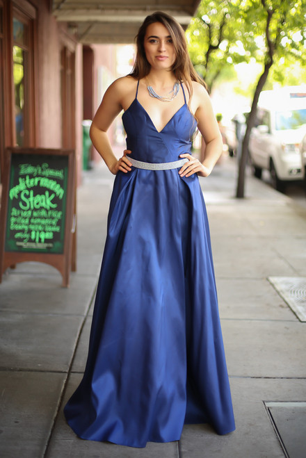 Midnight Glamour Navy Satin Gown with Rhinestone Band front view.